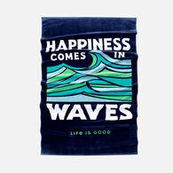 Life is Good Happiness Waves Beach Towel