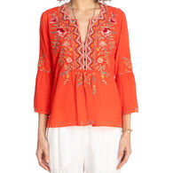 Johnny Was Women's Alise Flare Boho Long-Sleeve Top