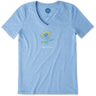 Life is Good Women's Sunflower Cool Vee Crusher Short-Sleeve T-Shirt