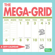 Mega-Grid 2019 Wall Calendar by Zebra Publishing