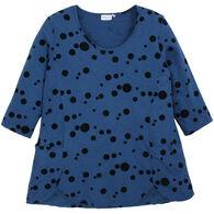 Prairie Cotton Women's Dots 3/4-Sleeve Scallop Hem Tunic Top