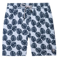 Tom & Teddy Men's Misty Blue & Navy Leaves Boardshort