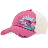 Life is Good Women's Watercolor Daisy Soft Mesh Back Cap