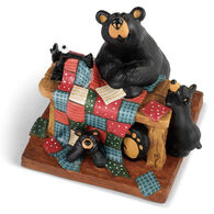Big Sky Carvers Quilting Bear & Cubs Bearfoots Figurine