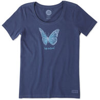 Life is Good Women's Butterfly Watercolor Crusher Scoop Short-Sleeve T-Shirt