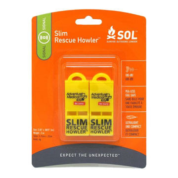 Adventure Medical SOL Slim Rescue Howler Whistle - 2 Pk.