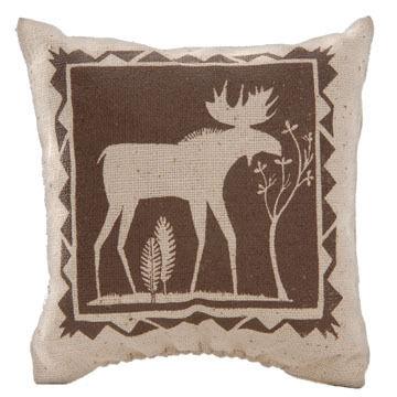 """Maine Balsam Fir 4"""" x 4"""" Indian Moose with Tree Balsam Pillow"""