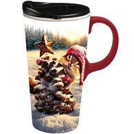 Evergreen Holiday Squirrel Ceramic Travel Cup w/ Lid