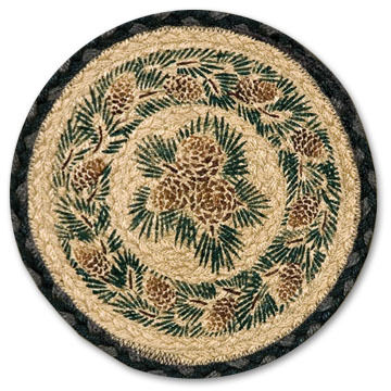 "Capitol Earth 10"" Round Pinecone Braided Rug"