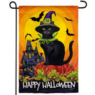 Evergreen Halloween Black Cat Garden Flag
