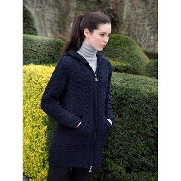 Aran Crafts Womens Long Hooded Celtic Knot Zip Front Irish Sweater