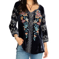 Johnny Was Women's Eleni Velvet Peasant Long-Sleeve Blouse