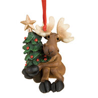 Big Sky Carvers Tree Hugging Moose Ornament