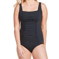 Speedo Women's Solid Shirred Tank One Piece Swimsuit