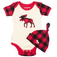 Hatley Infant Boy's Little Blue House Plaid Moose Baby Bodysuit with Hat