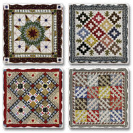 Ridge Top Kountry Krystal Game Board Quilt Coasters, 4-Pack