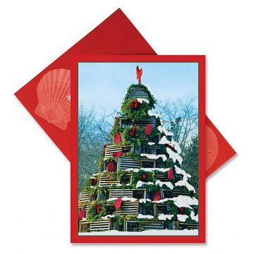 Cape Shore Lobster Pot Tree Embellished Boxed Christmas Cards