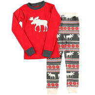 Lazy One Toddler Moose Fair Isle PJ Set