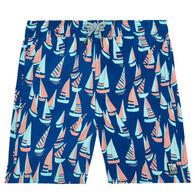 Tom & Teddy Boy's Marine Blue & Coral Boats Swim Trunk