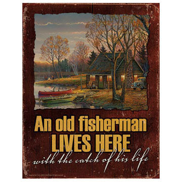 Wild Wings An Old Fisherman Lives Here Tin Sign