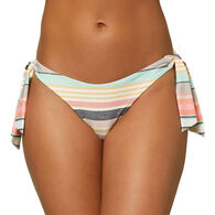 O'Neill Women's Maho Cruz Stripe Side Tie Cheeky Bikini Bottom