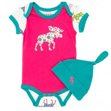 Hatley Infant/Toddler Girls Patterned Moose Onesie w/Cap