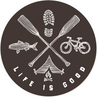 "Life is Good Outdoor Elements 4"" Circle Sticker"