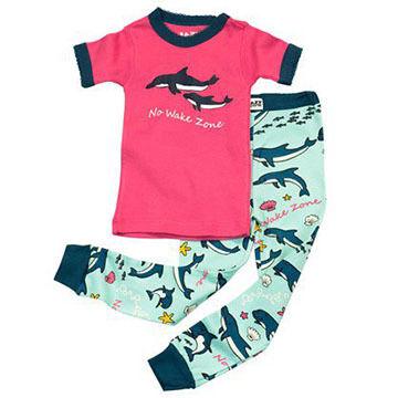 Lazy One Girls' No Wake Zone Dolphins Pajama Set