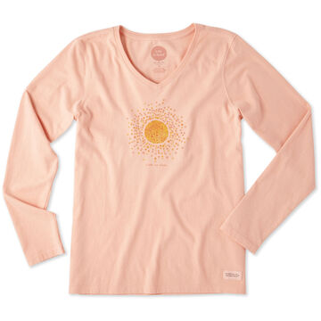 Life is Good Womens Sun Hearts Crusher Vee Long-Sleeve T-Shirt