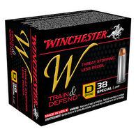 Winchester W Train & Defend 38 Special 130 Grain JHP Defend Handgun Ammo (20)