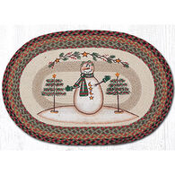 Capitol Earth Moon & Star Snowman Oval Patch Braided Rug