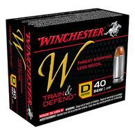 Winchester W Train & Defend 40 S&W 180 Grain JHP Defend Handgun Ammo (20)