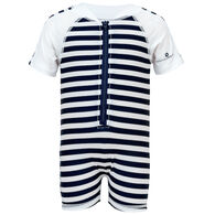 Snapper Rock Swimwear Infant/Toddler Boy's Striped Short-Sleeve Sunsuit