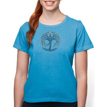 Earth Creations Womens New Tree Pose on Organic Cotton Short-Sleeve T-Shirt