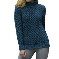 Aran Crafts Women's Heart Design High Neck Sweater