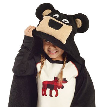 Lazy One Kids Bear Critter Hooded Blanket