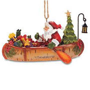 Cape Shore Birch Canoe Santa Ornament