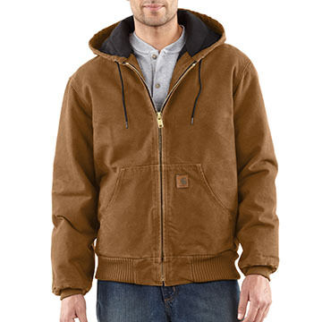 Carhartt Mens Big & Tall Sandstone Active Jac Quilted Flannel-Lined Coat