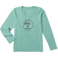 Life is Good Women's Purr Love Crusher Vee Long-Sleeve T-Shirt