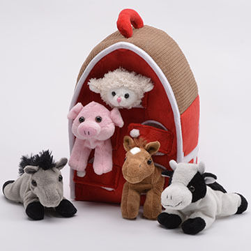 Unipak Designs Plush Farm Animal House - 6 Piece