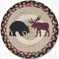 "Capitol Earth Bear & Moose 10"" Round Braided Rug"