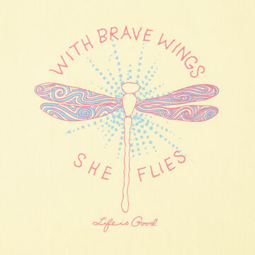 Life is Good Girls With Brave Wings She Flies Crusher Short-Sleeve T-Shirt