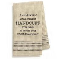 Mona B Wedding Ring Embroidered Waffle Weave Dishtowel