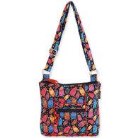 Sun N Sand Women's Quilted Multi Feline Crossbody Handbag