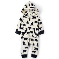 Hatley Infant Little Blue House Black Bears Baby Hooded Fleece Jumpsuit