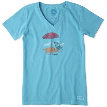 Life is Good Women's Beach Scene Crusher Vee Short-Sleeve Shirt