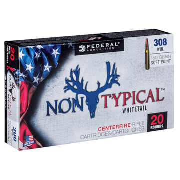 Federal Non-Typical 308 Winchester 150 Grain Soft Point Rifle Ammo (20)