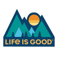 Life is Good Minimal Mountains Die Cut Sticker