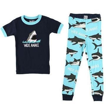 Lazy One Boys' Wide Awake Shark Pajama Set