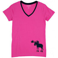 Hatley Women's Pink & Navy Moose Short-Sleeve Sleep T-Shirt